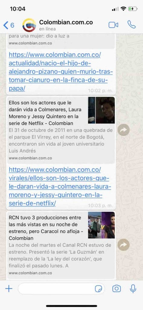 Colombian WhatsApp grupo noticias